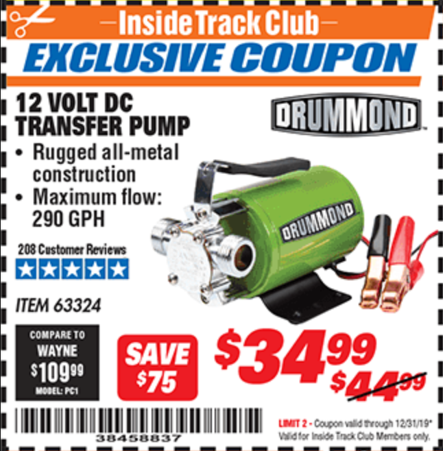 Harbor Freight 12 VOLT DC TRANSFER PUMP coupon