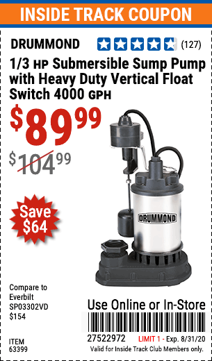 www.hfqpdb.com - 1/3 HP SUBMERSIBLE SUMP PUMP WITH HEAVY DUTY VERTICAL FLOAT SWITCH  Lot No. 63399