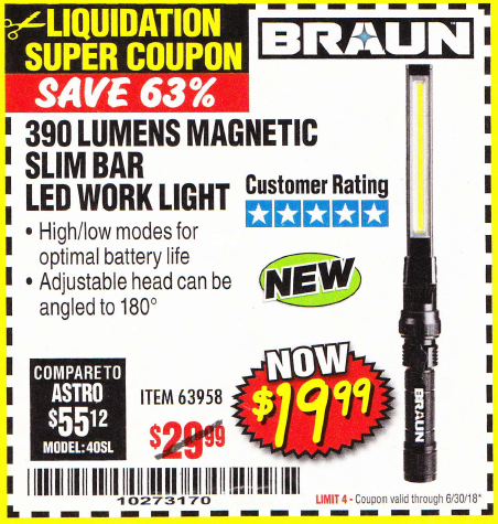 BRAUN 390 LUMEN SLIM BAR FOLDING LED WORKLIGHT Lot No. 63958 Expired:  6/30/18   $19.99 ...