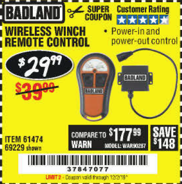 Harbor Freight WIRELESS WINCH REMOTE CONTROL coupon