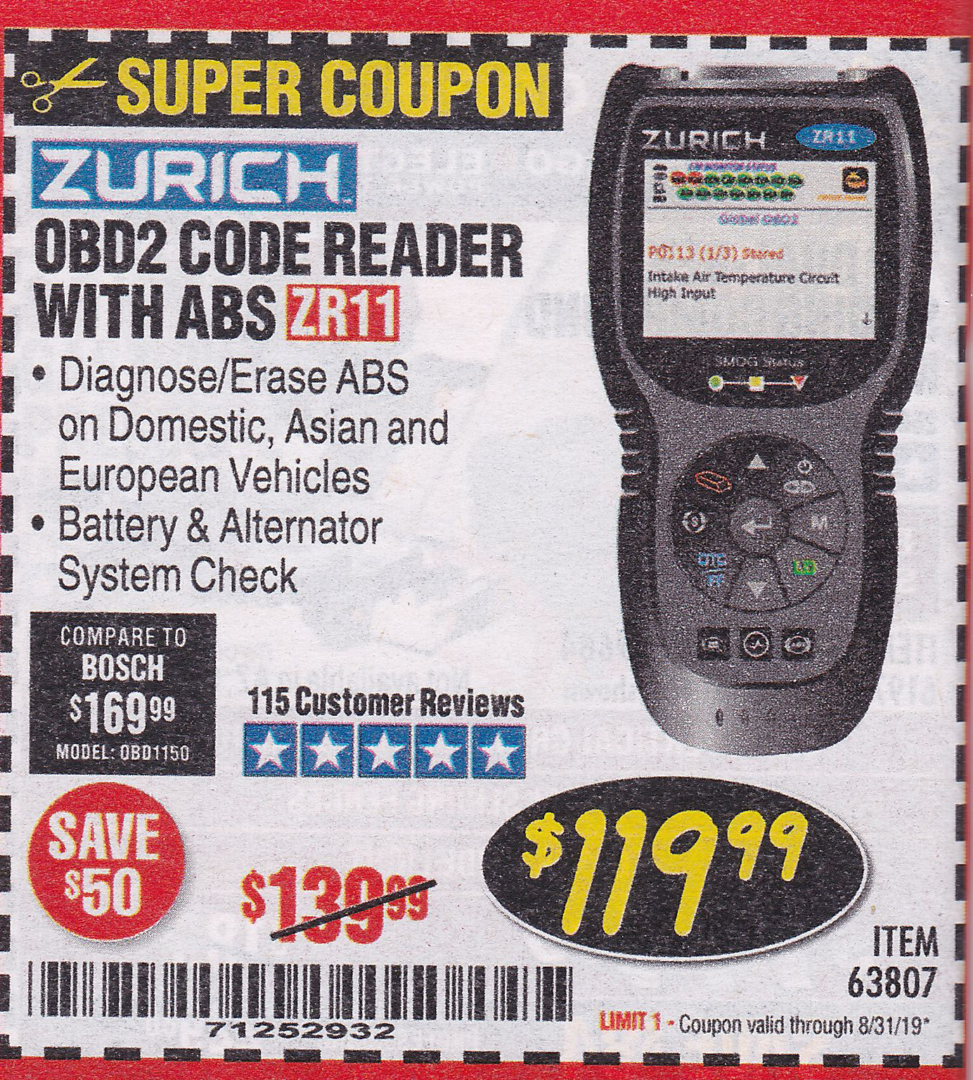 www.hfqpdb.com - ZURICH OBD2 CODE READER WITH ABS ZR11 Lot No. 63807