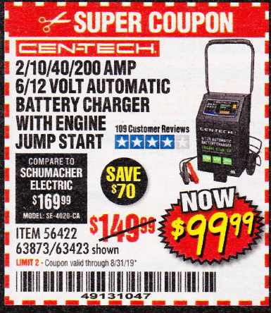 www.hfqpdb.com - 2/10/40/200 AMP 6/12 VOLT AUTOMATIC BATTERY CHARGER WITH ENGINE JUMP START Lot No. 56422