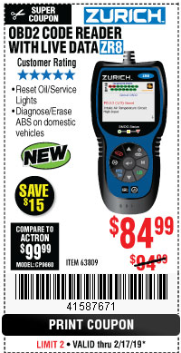 Harbor Freight ZURICH OBD2 CODE READER WITH LIVE DATA ZR8 coupon
