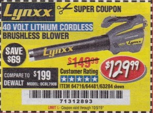 Harbor Freight LYNXX 40 VOLT LITHIUM CORDLESS BRUSHLESS BLOWER coupon
