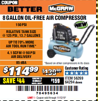 Harbor Freight MCGRAW 150 PSI, 8 GALLON, 1.5 HP HORIZONTAL COMPRESSOR coupon