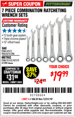 www.hfqpdb.com - 7 PIECE COMBINATION RATCHETING WRENCH SET Lot No. 96654/61396/62571/95552/62572/61400