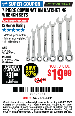 Harbor Freight 7 PIECE COMBINATION RATCHETING WRENCH SET coupon