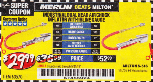 Harbor Freight DUAL HEAD AIR CHUCK INFLATOR WITH INLINE GAUGE coupon