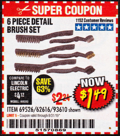 Harbor Freight 6 PIECE DETAIL BRUSH SET coupon