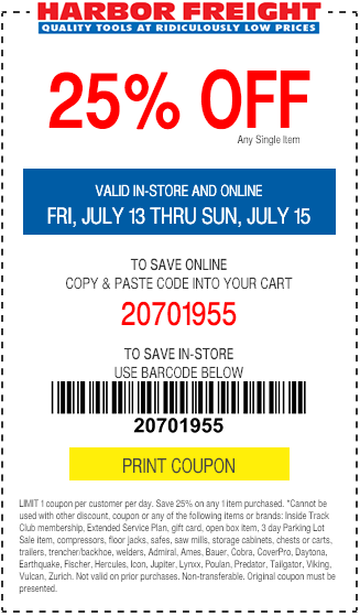 Harbour freight coupons 25 off