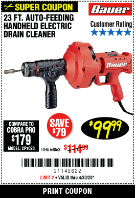 Harbor Freight BAUER 23 FT AUTO FEED HANDHELD ELECTRIC DRAIN CLEANER coupon