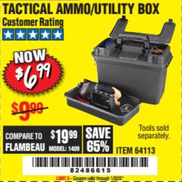 Harbor Freight TACTICAL AMMO BOX W/TRAY coupon