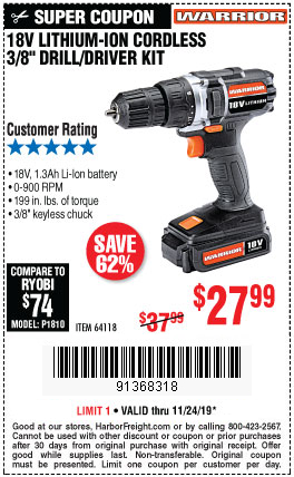 Harbor Freight WARRIOR 18V LITHIUM 3/8