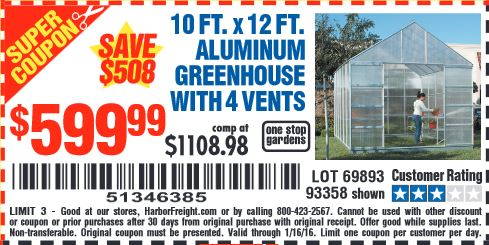 X 12 Ft Aluminum Greenhouse With 4 Vents Lot 10 No 69893 93358 63353 Expired 1 16 599 99 Coupon