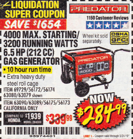 Harbor Freight 4000 MAX. STARTING/3200 RUNNING WATTS 6.5HP (212 CC) GAS GENERATOR coupon