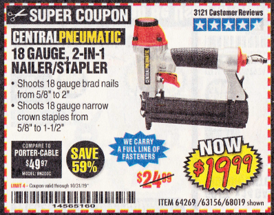 Harbor Freight 18 GAUGE, 2-IN-1 NAILER/STAPLER coupon