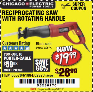 Harbor Freight 6 AMP HEAVY DUTY RECIPROCATING SAW coupon