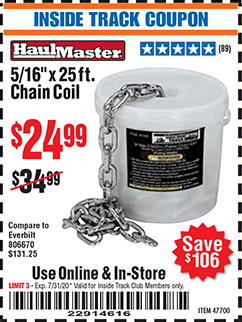 Harbor Freight 5/16'' X 25 FT. CHAIN COIL coupon