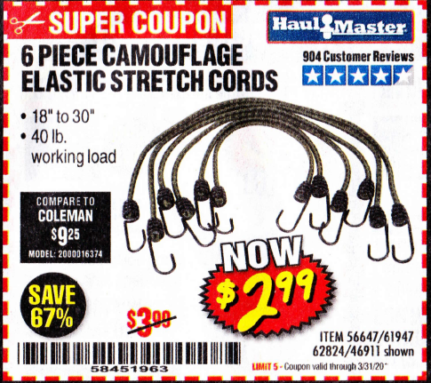 Harbor Freight 6 PIECE CAMOUFLAGE ELASTIC STRETCH CORDS coupon