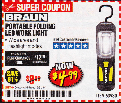 Harbor Freight BRAUN PORTABLE FOLDING LED WORK LIGHT coupon