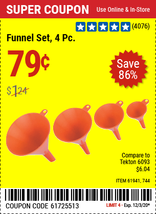 Harbor Freight 4 PIECE FUNNEL SET coupon
