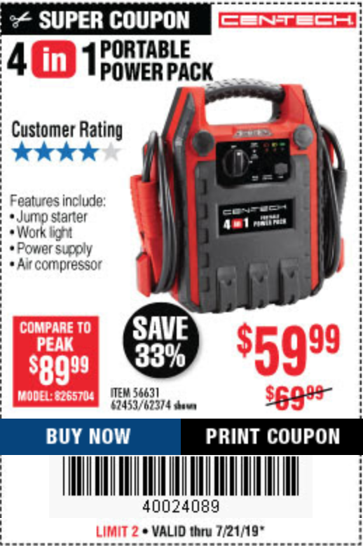 Thoughts On Cen Tech Portable Power Packs Harborfreight
