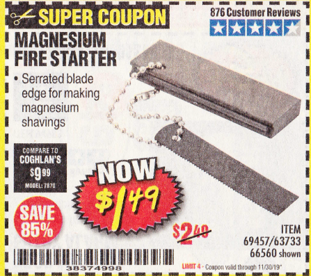 Harbor Freight MAGNESIUM FIRE STARTER coupon