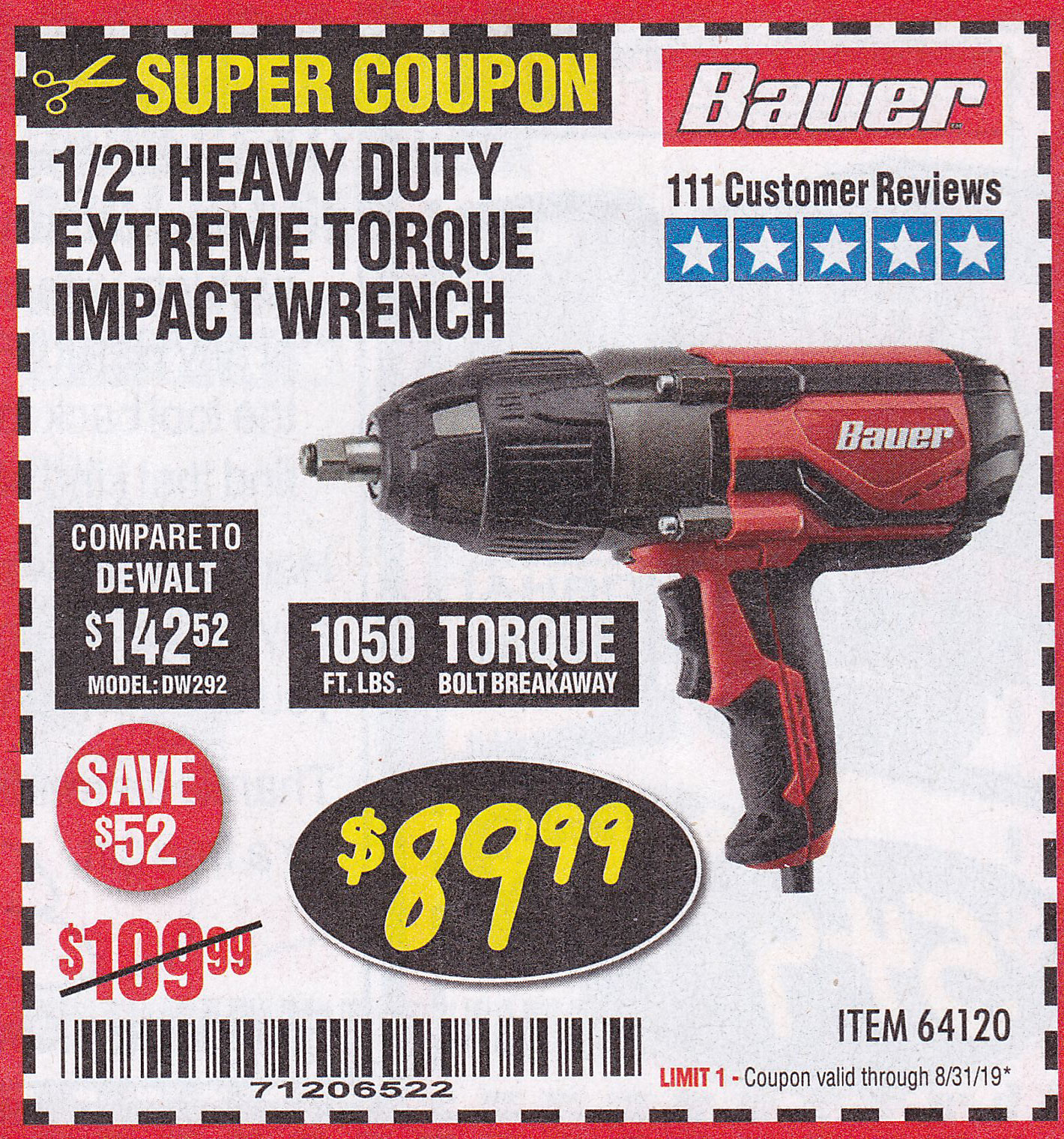 "www.hfqpdb.com - BAUER 1/2"" EXTREME TORQUE CORDED IMPACT WRENCH Lot No. 64120"