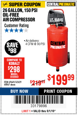 Harbor Freight 1.8 HP, 26 GALLON, 150 PSI OILLESS AIR COMPRESSOR coupon
