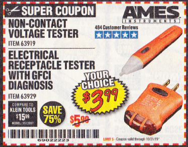 Harbor Freight ELECTRICAL RECEPTACLE TESTER WITH GFCI DIAGNOSIS coupon