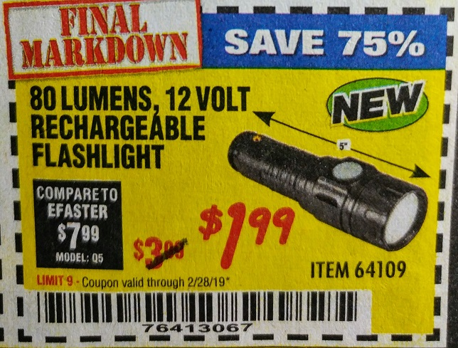 Harbor Freight 80 LUMENS 12 VOLT RECHARGEABLE FLASHLIGHT coupon