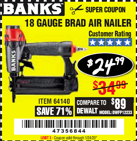 Harbor Freight 18 GAUGE BRAD AIR NAILER coupon