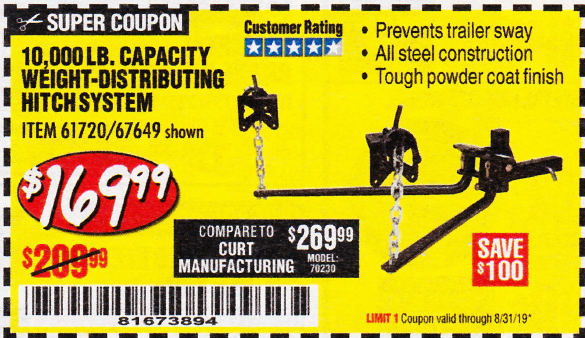 Harbor Freight 10,000 LB. CAPACITY WEIGHT-DISTRIBUTING HITCH SYSTEM coupon