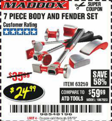 Harbor Freight 7 PIECE BODY AND FENDER SET coupon