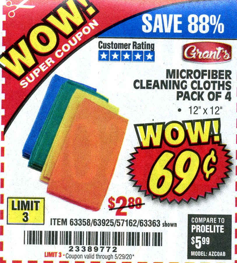 Harbor Freight MICROFIBER CLEANING CLOTHS PACK OF 4 coupon