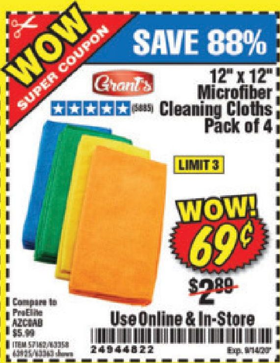 www.hfqpdb.com - MICROFIBER CLEANING CLOTHS PACK OF 4 Lot No. 57162/63358/63925/63363