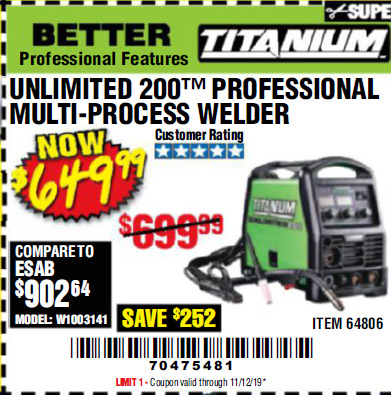 Harbor Freight TITANIUM UNLIMITED 200 PROFESSIONAL MULTIPROCESS WELDER coupon