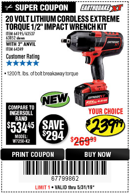 Harbor Freight EARTHQUAKE XT 20 VOLT LITHIUM CORDLESS 1/2