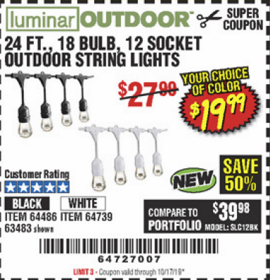Harbor Freight 24FT., 18 BULB 12 SOCKET OUTDOOR STRING LIGHTS coupon