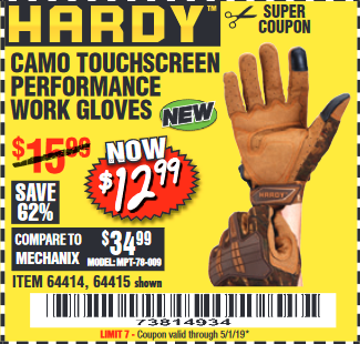 Harbor Freight HARDY CAMO TOUCHSCREEN PERFORMANCE WORK GLOVES coupon