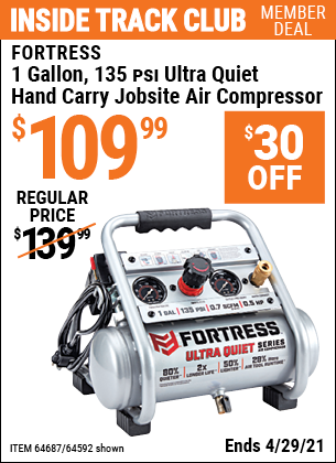 www.hfqpdb.com - FORTRESS 1 GALLON, .5HP, 135 PSI OIL FREE PORTABLE AIR COMPRESSOR Lot No. 64592/64687