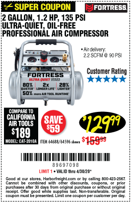 Harbor Freight FORTRESS 2 GALLON, 1.2 HP, 135 PSI ULTRA-QUIET, OIL-FREE PROFESSIONAL AIR COMPRESSOR coupon