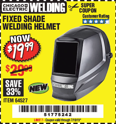 Harbor Freight CHICAGO ELECTRIC FIXED SHADE WELDING HELMET coupon
