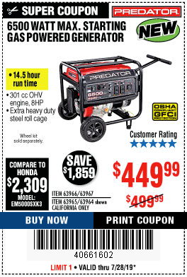 Harbor Freight 6500 MAX. STARTING/5500 RUNNING WATTS 8 HP (301 CC) GAS GENERATOR coupon