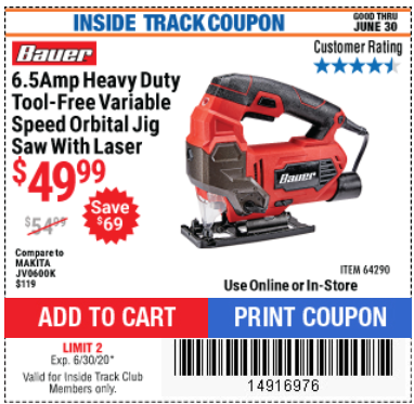 Harbor Freight BAUER 6.5 AMP HEAVY DUTY TOOL-FREE VARIABLE SPEED ORBITAL JIG SAW coupon