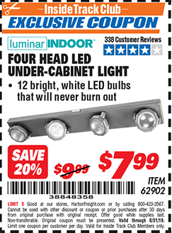 Harbor Freight FOUR-HEAD, LED UNDER-CABINET LIGHT coupon