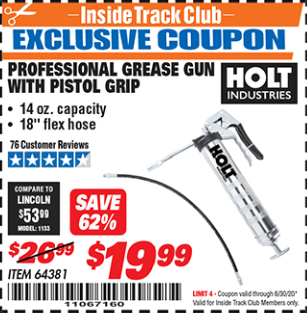Harbor Freight HOLT PROFESSIONAL PISTOL GRIP GREASE GUN coupon