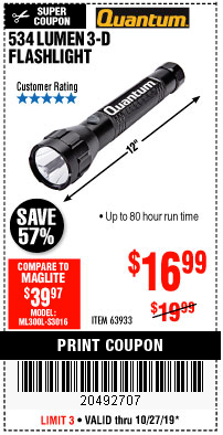Harbor Freight 534 LUMENS 3-D FLASHLIGHT coupon