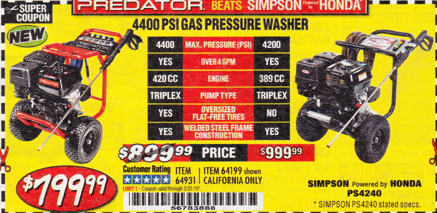 Harbor Freight 4400 PSI, 4.2 GPM, 13 HP (420 CC) PRESSURE WASHER coupon