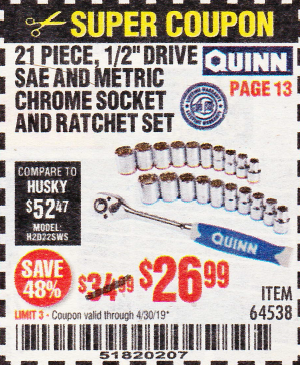 Harbor Freight QUINN 21 PIECE, 1/2
